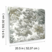 Old World Trees Peel and Stick Wallpaper grey roll