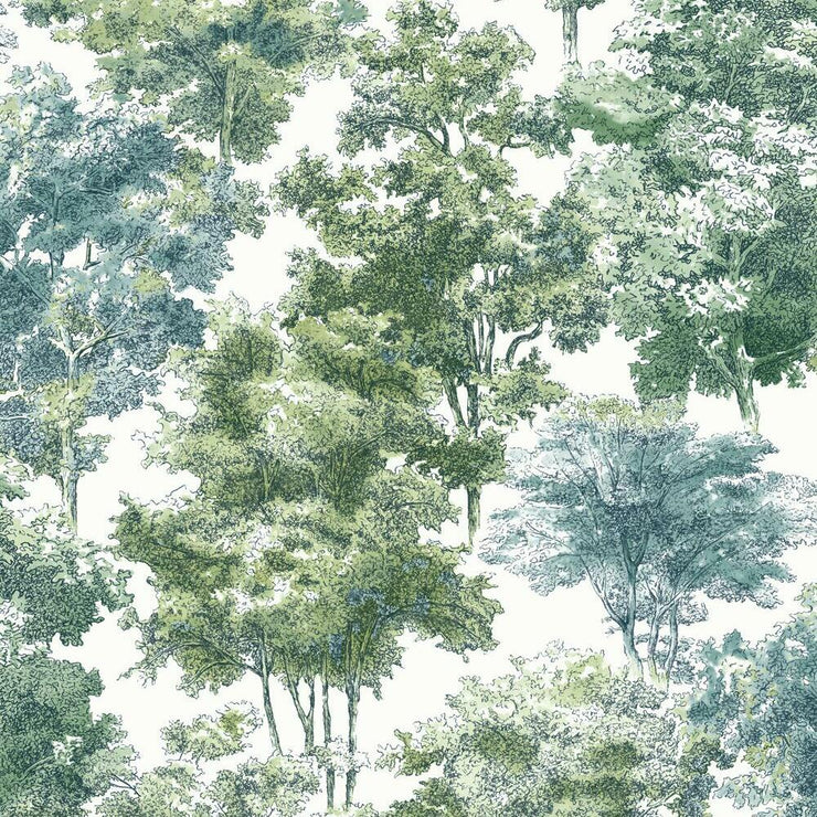 Old World Trees Peel and Stick Wallpaper green