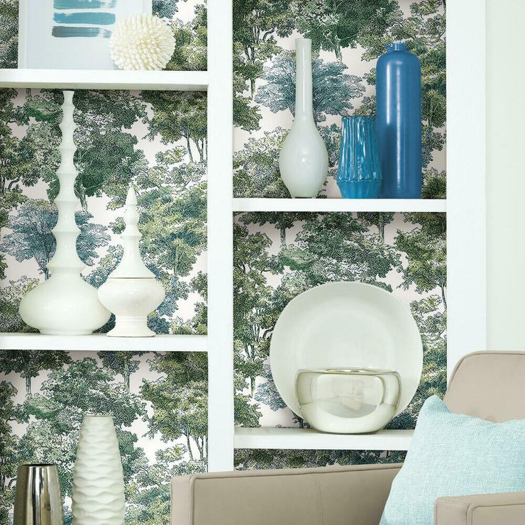 Old World Trees Peel and Stick Wallpaper green roomset