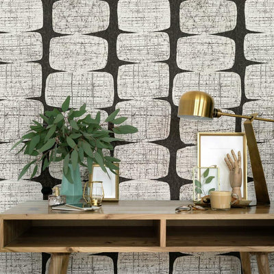 Mid-Century Beads Peel and Stick Wallpaper black roomset