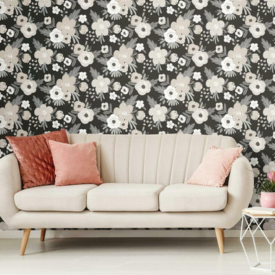 Poppy Floral Peel and Stick Wallpaper black roomset