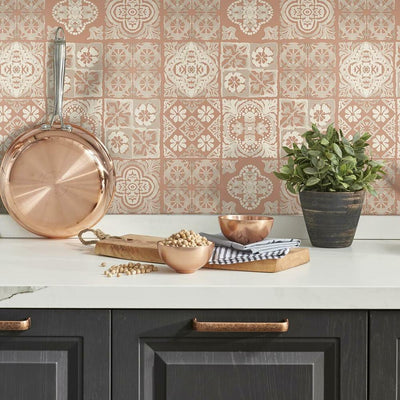 Marrakesh Tile Peel and Stick Wallpaper red roomset