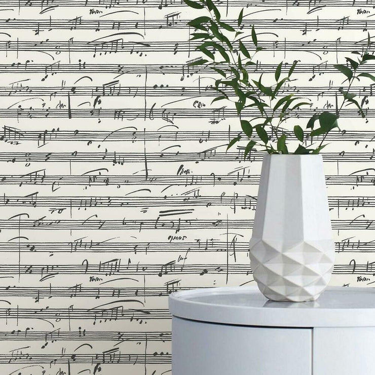Melody Peel and Stick Wallpaper white roomset