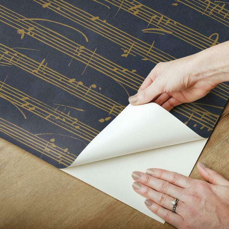 Melody Peel and Stick Wallpaper navy peel