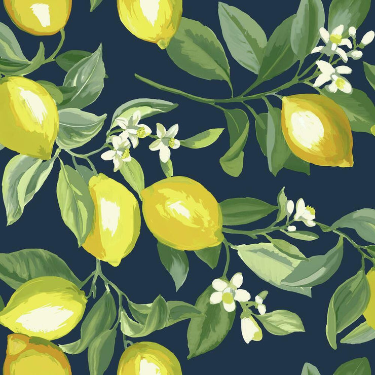 Lemon Zest Peel and Stick Wallpaper navy