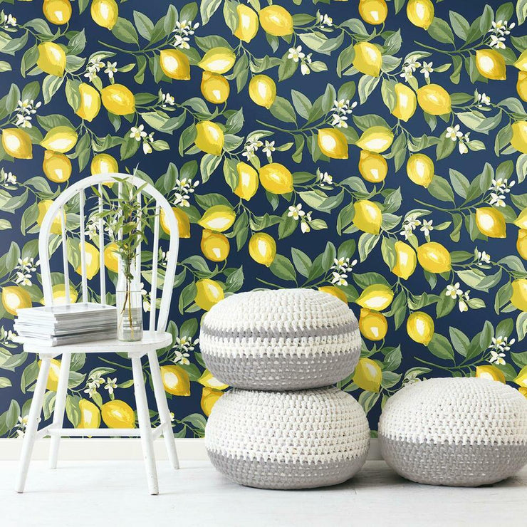 Lemon Zest Peel and Stick Wallpaper navy roomset