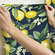 Lemon Zest Peel and Stick Wallpaper navy hang