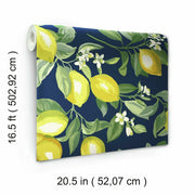 Lemon Zest Peel and Stick Wallpaper navy dimensions