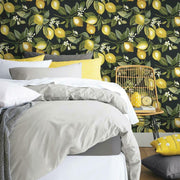 Lemon Zest Peel and Stick Wallpaper black roomset