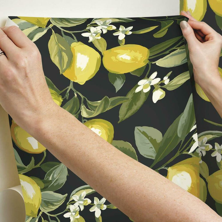 Lemon Zest Peel and Stick Wallpaper black hang