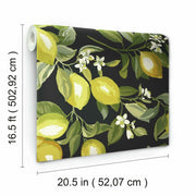 Lemon Zest Peel and Stick Wallpaper black dimenisons