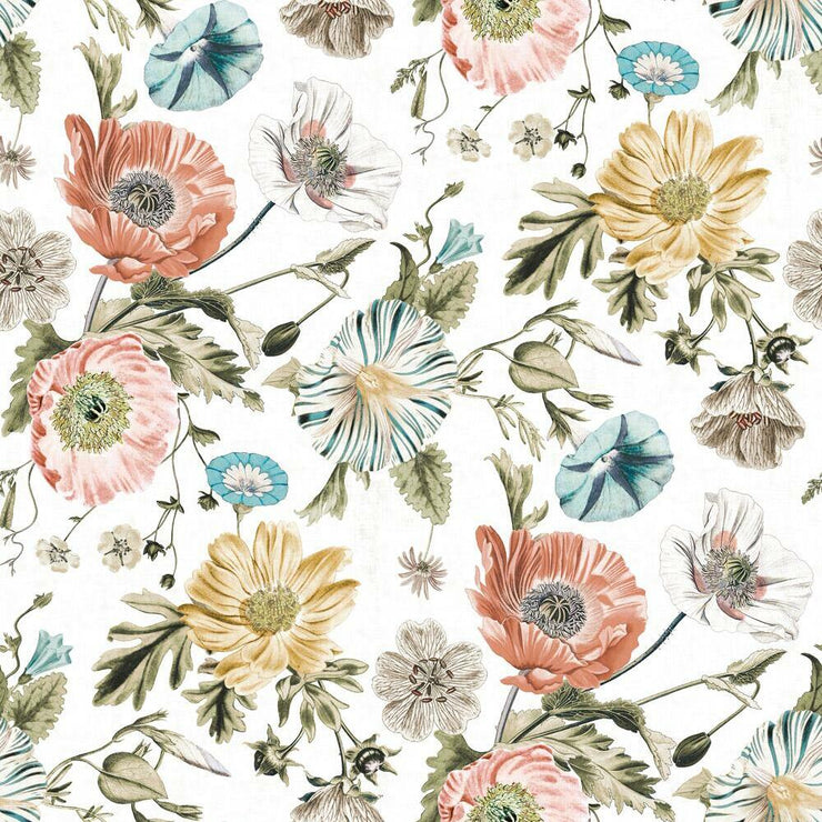Vintage Poppy Peel and Stick Wallpaper white