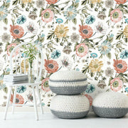Vintage Poppy Peel and Stick Wallpaper white roomset