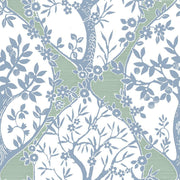 Tree and Vine Ogee Peel and Stick Wallpaper blue