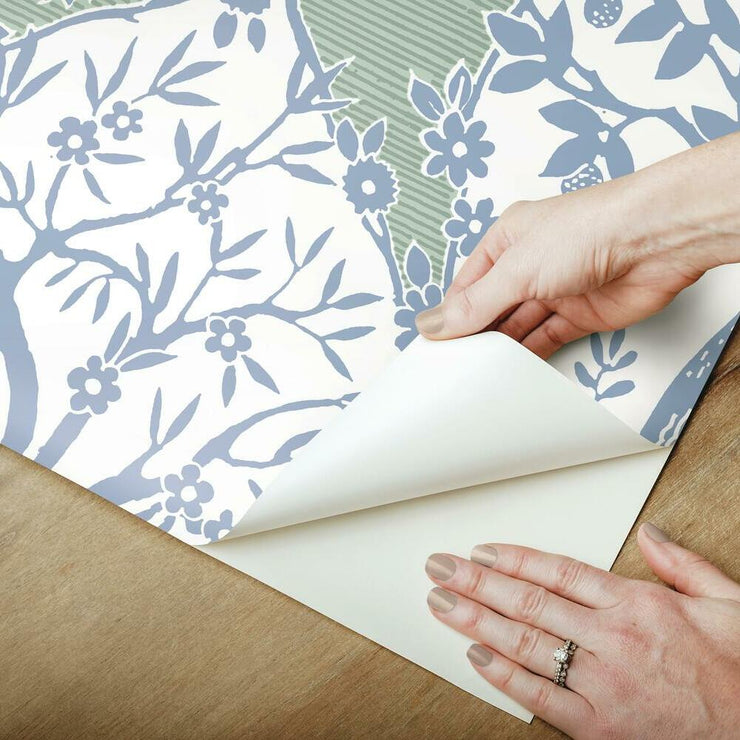 Tree and Vine Ogee Peel and Stick Wallpaper blue peel
