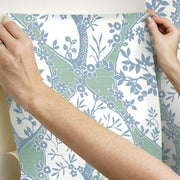 Tree and Vine Ogee Peel and Stick Wallpaper blue hang