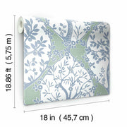 Tree and Vine Ogee Peel and Stick Wallpaper blue roll