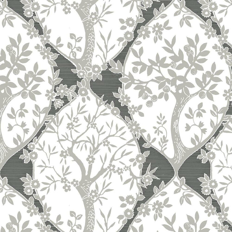 Tree and Vine Ogee Peel and Stick Wallpaper grey