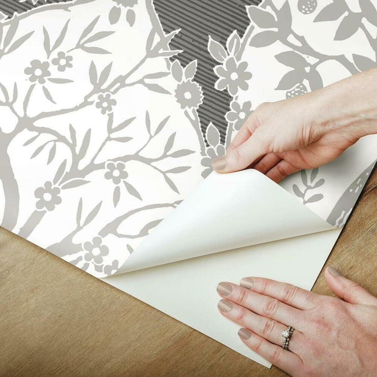 Tree and Vine Ogee Peel and Stick Wallpaper grey peel