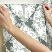 Tree and Vine Ogee Peel and Stick Wallpaper grey hang
