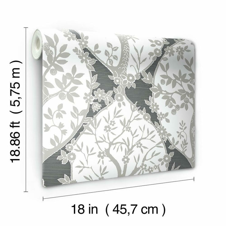Tree and Vine Ogee Peel and Stick Wallpaper grey roll