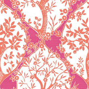 Tree and Vine Ogee Peel and Stick Wallpaper pink