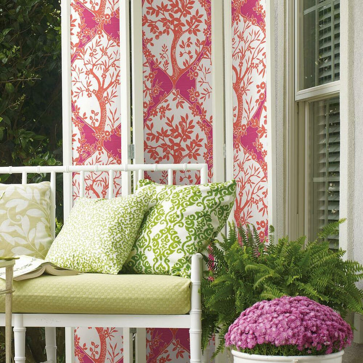 Tree and Vine Ogee Peel and Stick Wallpaper pink roomset