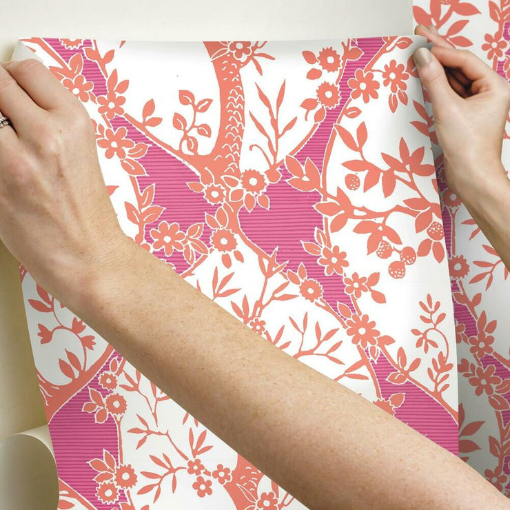 Tree and Vine Ogee Peel and Stick Wallpaper pink hang