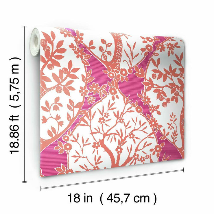 Tree and Vine Ogee Peel and Stick Wallpaper pink roll