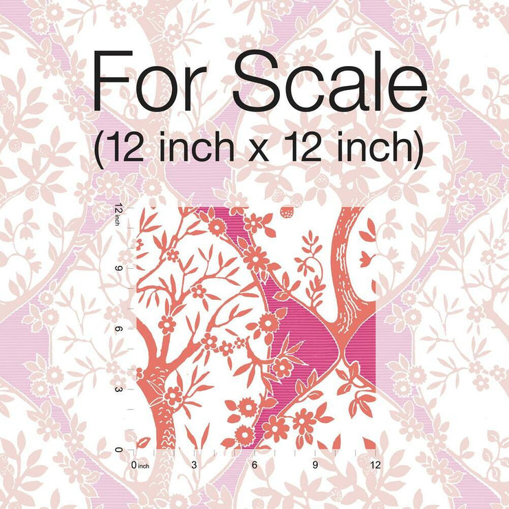 Tree and Vine Ogee Peel and Stick Wallpaper pink scale