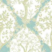 Tree and Vine Ogee Peel and Stick Wallpaper green