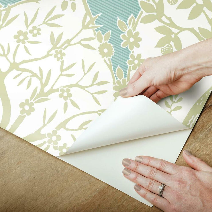 Tree and Vine Ogee Peel and Stick Wallpaper green peel