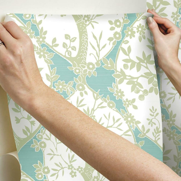 Tree and Vine Ogee Peel and Stick Wallpaper green hang