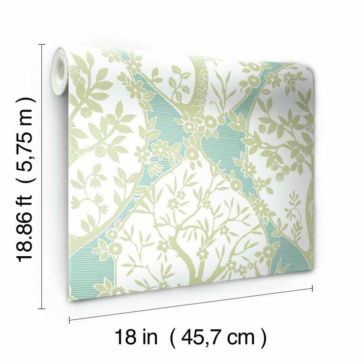 Tree and Vine Ogee Peel and Stick Wallpaper green roll