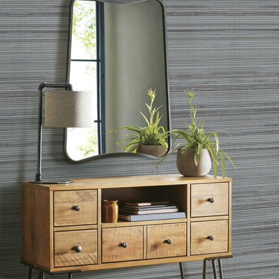 Faux Bamboo Grasscloth Peel and Stick Wallpaper grey roomset