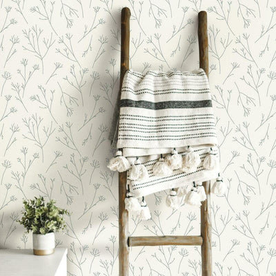 Twigs Peel and Stick Wallpaper grey roomset
