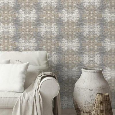 Sarong Print Peel and Stick Wallpaper tan