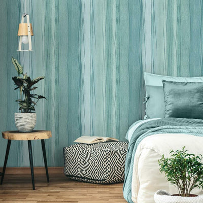 Making Waves Peel and Stick Wallpaper light blue roomset