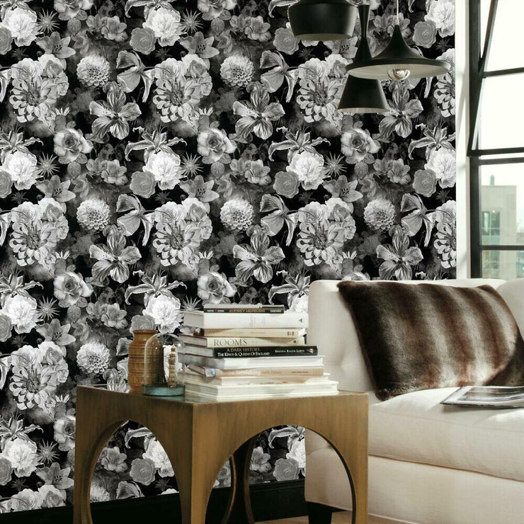 Vintage Floral Blooms Peel and Stick Wallpaper black roomset