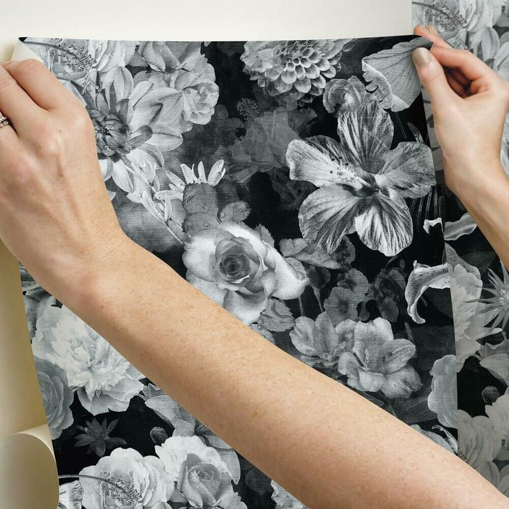 Vintage Floral Blooms Peel and Stick Wallpaper black hang