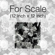 Vintage Floral Blooms Peel and Stick Wallpaper black scale