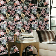 Vintage Floral Blooms Peel and Stick Wallpaper pink roomset
