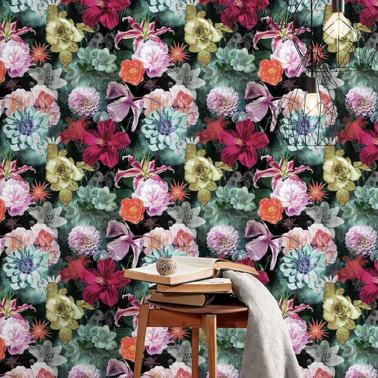 Vintage Floral Blooms Peel and Stick Wallpaper red roomset
