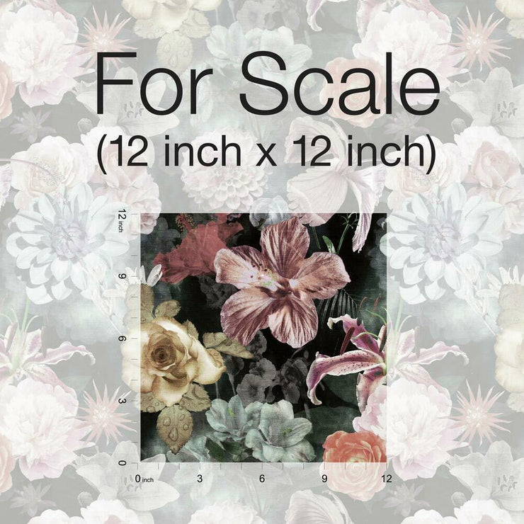 Vintage Floral Blooms Peel and Stick Wallpaper pink scale