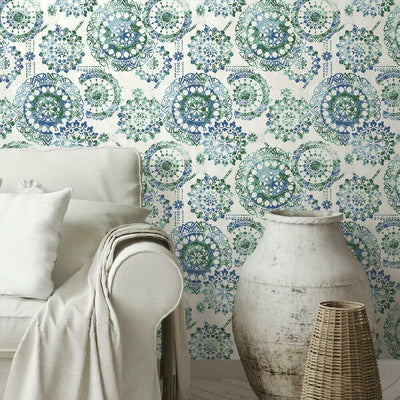 Bohemian Medallion Peel and Stick Wallpaper blue roomset
