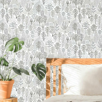 Folklore Trees Peel and Stick Wallpaper grey roomset