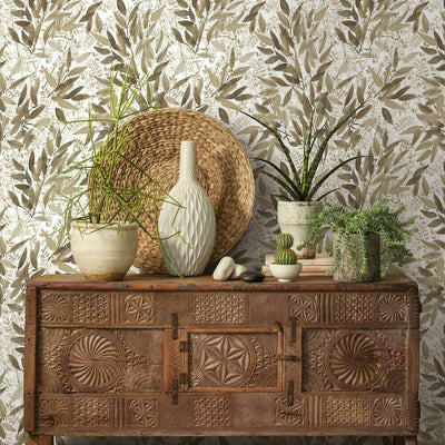 Watercolor Leaves Peel and Stick Wallpaper taupe roomset