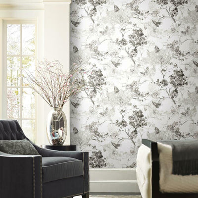 Spring Cherry Blossoms Peel and Stick Wallpaper grey roomset