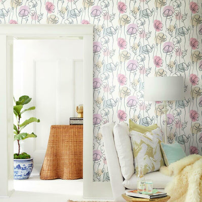 Modern Poppy Peel and Stick Wallpaper pink roomset