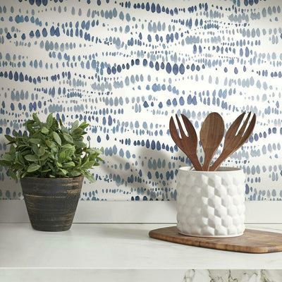 Dotted Line Peel and Stick Wallpaper navy roomset